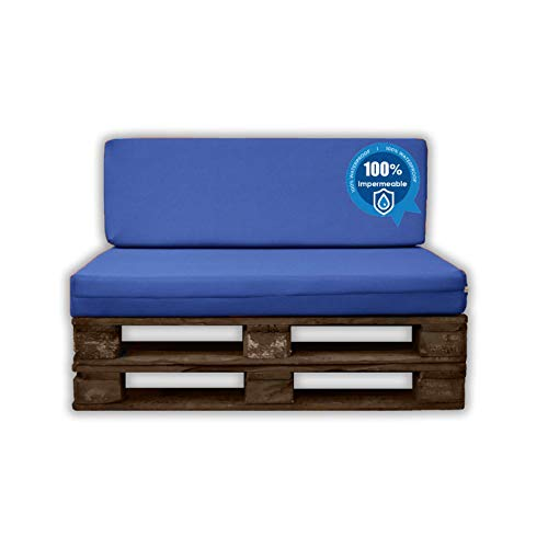 MICAMAMELLAMA Pack Ahorro Asiento + Respaldo Cojines para palets Sofa de Palets Exterior e Interior - Funda Náutica Azul Impermeable - Espuma HR Alta Densidad - Grosor 12cm - Euro Palets
