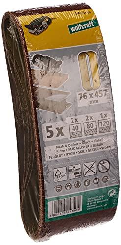 Wolfcraft 8415000 - 5 lijas de banda abrasiva grano 40,80,120 76 x 457 mm