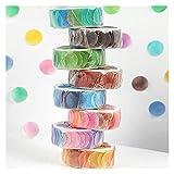 YINCHIE AN915 8 Rollos de Caramelo Color Dot washi Cinta Auto Adhesiva Cintas enmascaradoras Bricolaje Cuaderno de Scrapbooking Pegatina Redonda Papelería de Oficina Enmascaramiento Decorativo