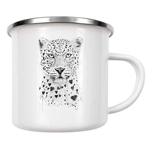 artboxONE Emaille Tasse Lovely Leopard von Balázs Solti - Emaille Becher Tiere