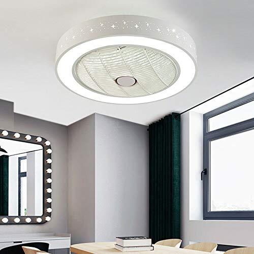 LED Deckenleuchte mit fernbedienung und ventilatoren leise, Dimmbar Lampe, Timer, Einstellbare Windgeschwindigkeit Deckenventilator Deckenlampe