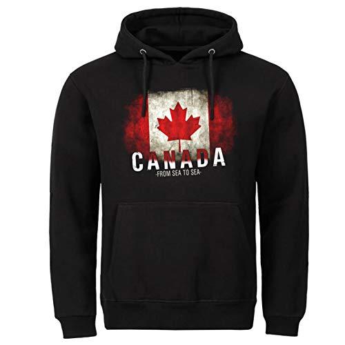 Tex-Ha Canadese vlag Canada vlag zwart hoodie trui met capuchon