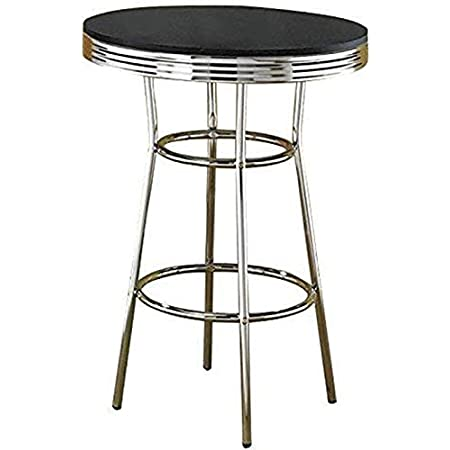 BOWERY HILL 30 Round Pub Table in Black and Chrome