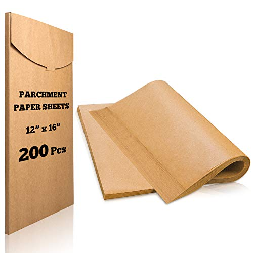 Hiware 200 Pieces Parchment Paper Baking Sheets 12 x 16 Inch, Precut Non-Stick Parchment Sheets for Baking, Cooking, Grilling, Air Fryer and Steaming - Unbleached, Fit for Half Sheet Pans