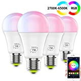 magic - lampadina led smart rgbw, con illuminazione wifi, dimmerabile, a risparmio energetico, con amazon echo alexa, google home (7w(4 pack))