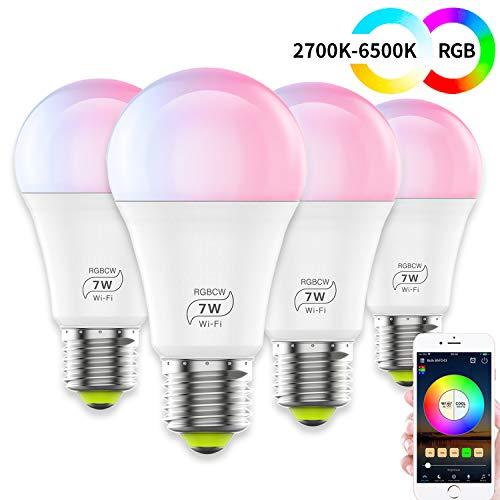 HaoDeng WLAN Smart LED 7 W lamp WIFI verlichting, dimbaar compatibel met Alexa, Iftt, Google Home en Siri, Sunset & Zonsopgang, wekker, 16 miljoen kleuren, E27 lampen(4pack)