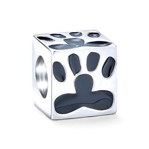 Bff cuadrado cubo cachorro gatito gato gato perro pata impresión encanto cuenta para las mujeres para adolescente 925 plata se adapta a la pulsera europea