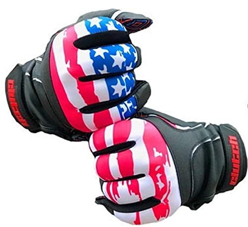 Clutch Sports Apparel Baseball and Softball Batting Gloves - Black Leather American Flag W/Multicolor Grip, Youth X-Large