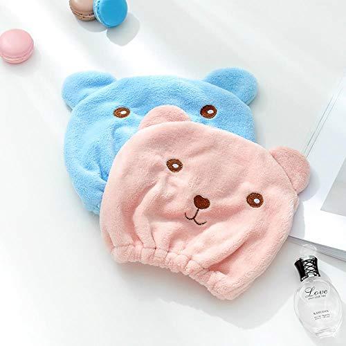 Yukis Little Store - Toalla de baño absorbente para secado de pelo, diseño animado, adulto, gruesa, toalla turbante superabsorbente, microfibra