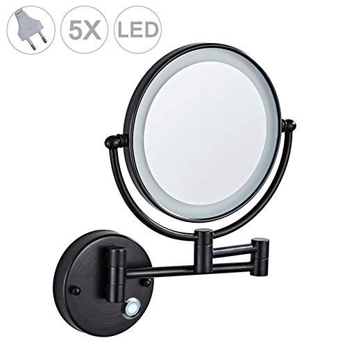 An der Wand montierter Rasierspiegel 5-fache Vergrößerung Doppelseitig klappbarer LED-Badezimmerspiegel Touchscreen Einziehbarer, um 360 Grad schwenkbarer beleuchteter Schminkspiegel, 8 Zoll, UK-Stec