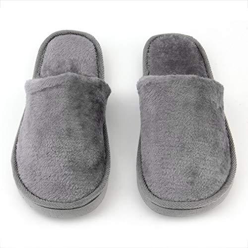 JIE Felpa Interior Hogar Mujeres Hombres Zapatos Antideslizantes Suave y cálido Algodón Zapatillas silenciosas Gris 42-43