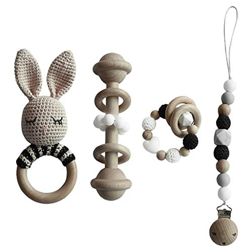 GLASSNOBLE Juego de 4 piezas de juguete para bebés con clip para chupete de leche, pulsera de ganchillo para bebés