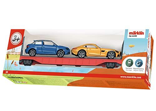 Märklin my world 44110 - Autotransportwagen mit 2 robusten PKW-Modellen beladen, Spur H0