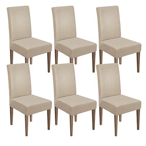 MAXIJIN Funda elástica para silla de comedor de jacquard para comedor, hotel, cocina, ceremonias (Khaki, 6)