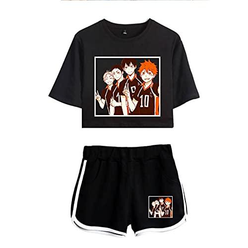 WWZY Haikyuu Camiseta y Pantalones Cortos Mujer Karasuno High School No.10 Cosplay Hinata Shoyo Harajuku 3D Anime Manga Corta T-Shirt Manga Corta Shorts Uniform,Negro,XS