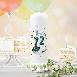 ilka parey wandtattoo-welt Geburtstagskerze Kerze zum Geburtstag Dino im Ei Wunschname Alter wk158 + wahlweise passendes Teelichthüllen-Set te158 - ausgewählte Größe: *Kerze + 2 Lichthüllen*