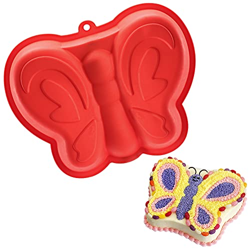 Schmetterling Kuchenform, Geburtstag Kuchen Backform Schmetterling, Kindergeburtstag 3D Kuchenform, Schmetterlingsform DIY Handgefertigt für Schmetterlingskuchen, Pudding, Schokolade, Gelee(Rot)