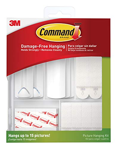 Command Picture Hanging Kit for Picture Frames and Posters, White, 38 Piece Kit - Hangs up to 15 Pictures