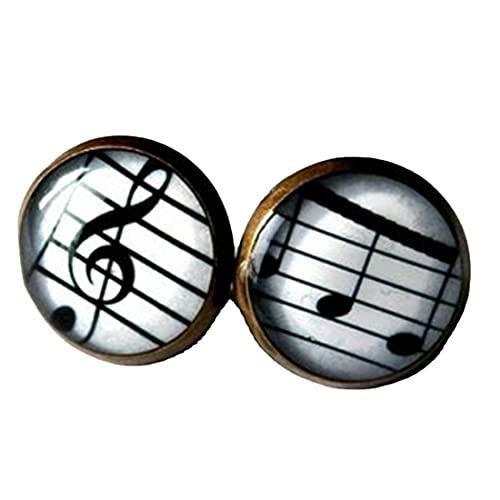 Pendientes musicales - Pendientes de clavo agudos - Regalo para músico - Joyería de música - Pendientes de partitura - Nota musical - Pendientes de poste de música