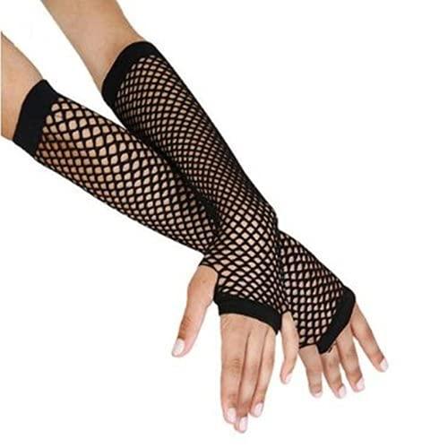 Long Black Fishnet Moll Punk Rock Gloves Fingerless