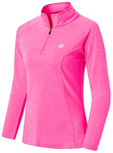 AjezMax Camiseta deportiva de manga larga para mujer con cremallera de 1/4, ligera, para invierno, para gimnasio, yoga, fitness, entrenamiento, rojo, rosa, XS