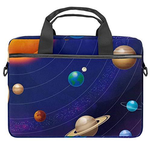 Laptop Bag Laptop Shoulder Messenger Bag Case Sleeve Shockproof for 13'~14.5' Laptop Universe Solar System Planets