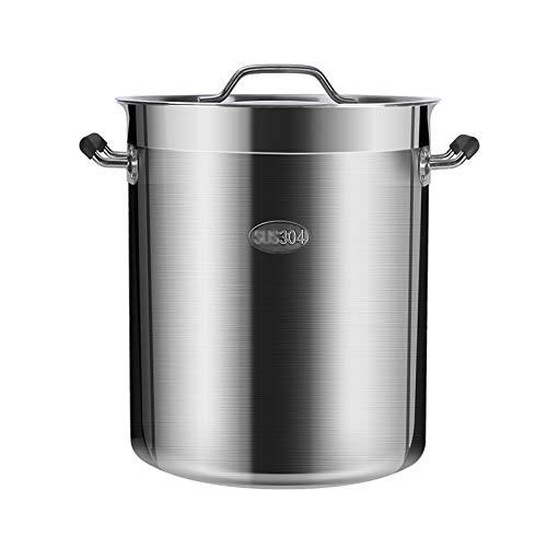 Guoguocy Ollas Rectas Cocina de Acero Inoxidable Grande Grande de 50 litros de la Base de inducción de la cazuela de la pote del Acero Inoxidable, Adecuado para Varias Fuentes de Calor