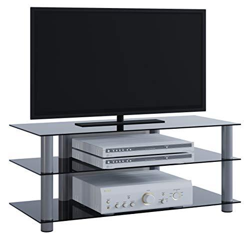 """VCM TV Rack Lowboard Konsole LCD LED Fernsehtisch Möbel Bank Glastisch Tisch Schrank Aluminium Schwarzglas \""""Zumbo\"""""""