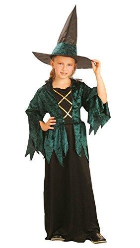 Party Partners 86807 Kinder-Kostüm Grüne Hexe 4-6 Jahre -Halloween-Hexen-Kostüm-