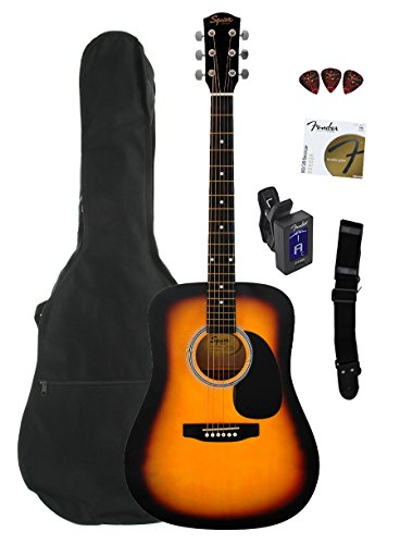 Squier by Fender SA-105 Acoustic Guitar - Sunburst Bundle with Gig Bag, Tuner, Strings, Strap, Picks