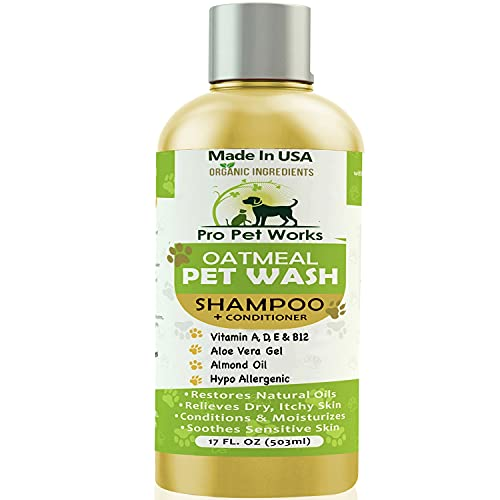 Pro Pet Works Natural Organic 5 In 1 Oatmeal Pet Shampoo + Conditioner-Dog Grooming Supplies-Odor Control Tearless Blend wth Aloe Vera Gel For Allergy Relief & Itchy Dry Sensitive Skin-17oz(Soap Free)