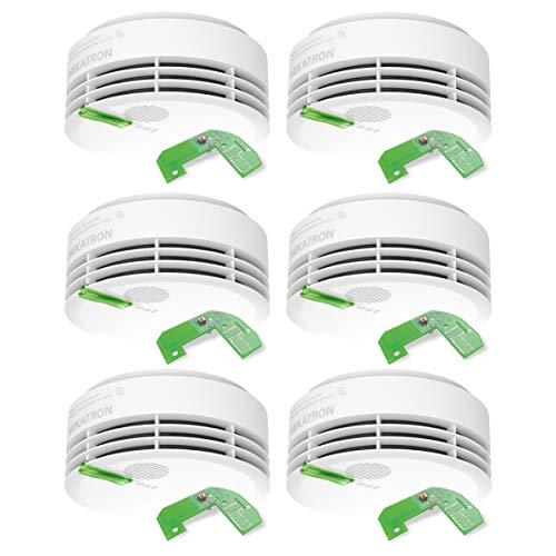 Hekatron 31-5000021-14-01 Rauchmelder Genius PLUS X inkl. Funkmodul Basis X – Optional funk-vernetzbar – 10 Jahre Lebensdauer der Batterie & mehrfarbig LED – Rauchwarnmelder in Weiß – 6er Set