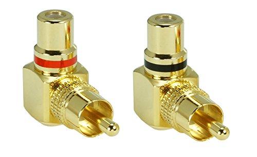 2 x SunshineTronic Premium Cinch Winkel-Adapter | Cinch-Stecker auf Cinch-Kupplung | Set