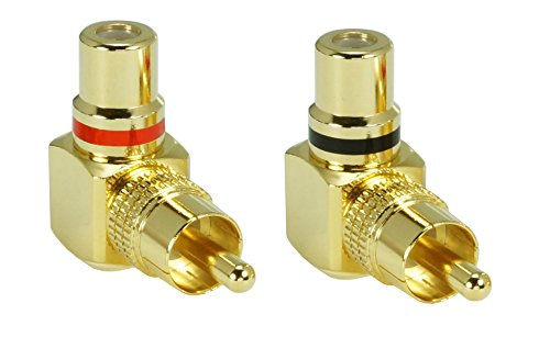 2 x SunshineTronic Premium Cinch Winkel-Adapter | Cinch-Stecker auf Cinch-Kupplung | Set
