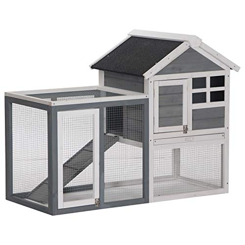 PawHut 48' Weatherproof Wooden Rabbit Hutch with Asphalt Roof & Outdoor Run, for Ferrets & Other Small Animals, Grey