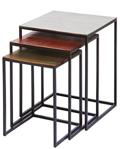 Kare Design Beistelltisch Loft Square Vintage 3er Set, moderner kleiner Wohnzimmertisch edel, Designcouchtische mit schwarzen, schmalen Metallgestell, Gold, Kupferrot, Silber, (H/B/T) 52x41x41cm