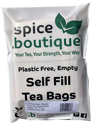 Spice.boutique Unbleached Paper Self Fill Teabags, Plastic Free, One Cup Size 5x7cm, 200