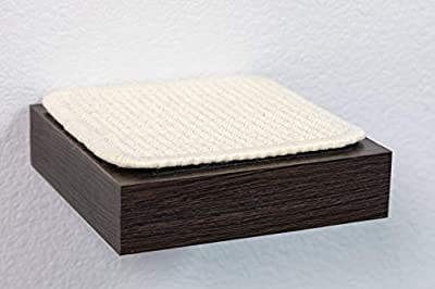 PetFusion Cat Activity Wall Shelves - Single Small Shelf. Sisal Surfaces for cat Scratching & Plush to Lounge, Neutral Design & Color Tones. Easy & Secure Wall Mount