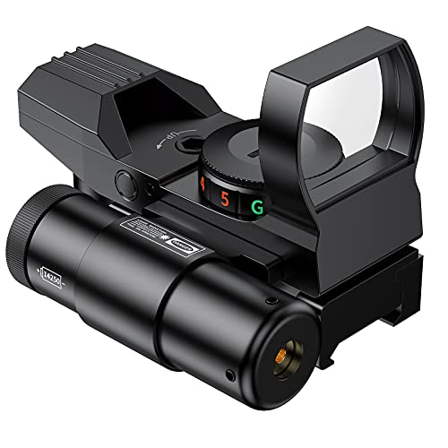 Reflex Sight - 4 Reticle Dot Sight with 2mW Red Laser ,Red Dot Sight Holographic Optics with 20mm Standard Bases