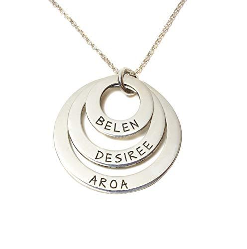 Collana tre anelli con nomi in argento 925 Personalizzabile SPEDIZIONE GRATUITA
