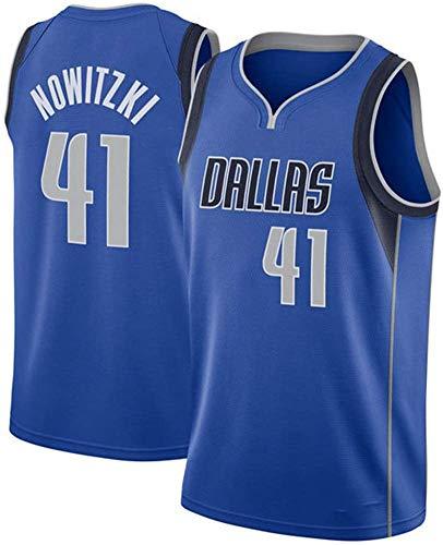 Mavericks Basketballtrikots Dirk Nowitzki 41, Basketballtrikots Trainings-T-Shirt Gesticktes, schnell trocknendes Gewebe Top Sport Adult Men-Blue-XL(185~190)