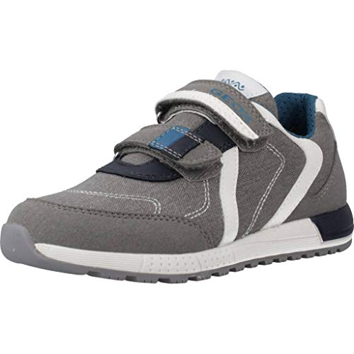 Geox Jungen J ALBEN Boy B Sneaker, Grau (Grey/Petrol C0386), 31 EU
