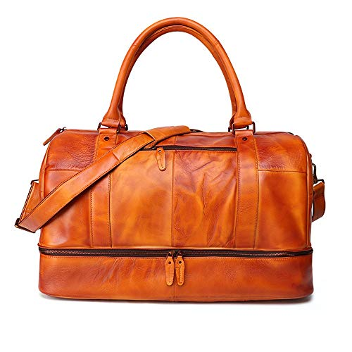 Travel Duffel Bag for Men Unisex Leather Luggage Bags Crossbody Bag Weekend Bag Tote Bag Oversized Travel Shoulder Handbag Fits 15.6 Inch (Color : Brown, Size : 58x31x33cm)