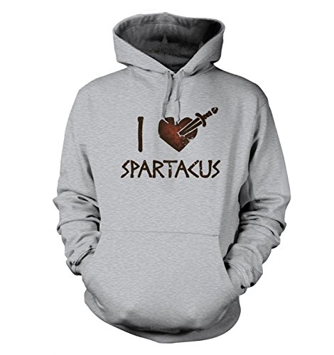 Big Mouth Clothing I Heart Spartacus Adult's Hoodie (X- Small (34 Chest)/Heather Grau)
