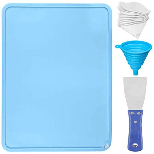 Youmile Silicone Slap Mat Accessori per stampanti 3D 3D 410x310mm Rilievo in silicone blu per trasferimento in resina per resine pulite con vanga pulita, filtro per carta da 10 micron 100 micron