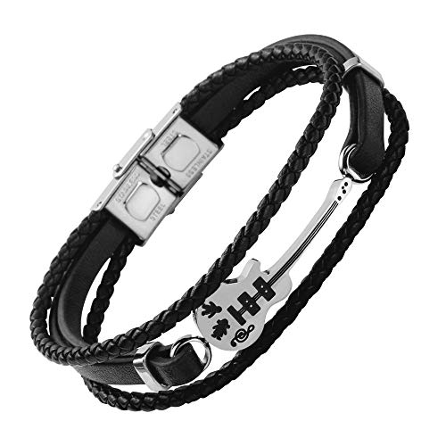 Black Leather Bracelet with Stainless Steel Guitar for Men & Women - 10cm Black Braided Faux Leather Rope