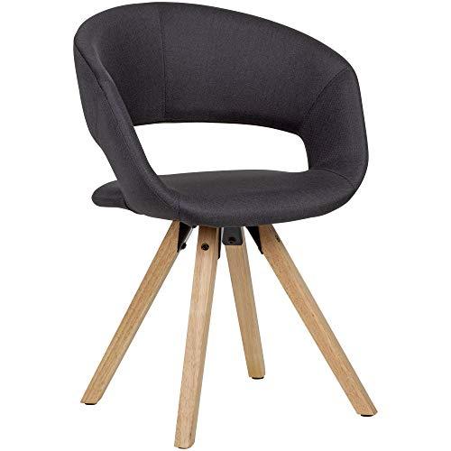 FineBuy Esszimmerstuhl Schwarz Stoff/Massivholz Retro   Küchenstuhl mit Lehne   Stuhl mit Holzfüßen   Polsterstuhl Maximalbelastbarkeit 110 kg