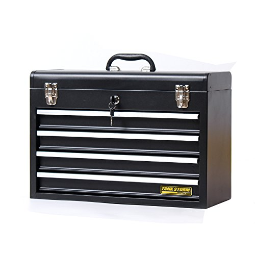 TANKSTORM Portable Steel Tool Chest with Drawers206quot 4Drawer Box Storage Organizer Cabinet Metal Toolbox with Ball Bearing Slides BlackX4