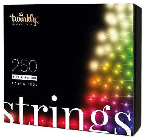Twinkly Smart Lichterkette LED-Weihnachtsbeleuchtung Spezialausgabe - App-gesteuerte Büschellichter mit 250 RGB+W-Lichtern - IoT-fähige Beleuchtung - Erstellen oder Herunterladen von Lichtanzeigen