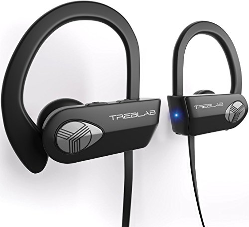 TREBLAB XR500 Bluetooth Headphones, Best Wireless Earbuds for Sports, Running Gym Workout. IPX7 Water Resistant, Sweatproof, Secure-Fit Headset. Noise Cancelling Earphones w Mic
